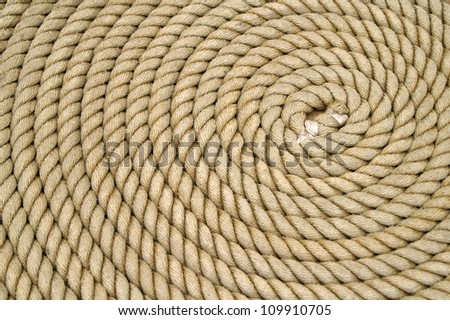 Rope Coiled in Circles Background Horizontal - stock photo