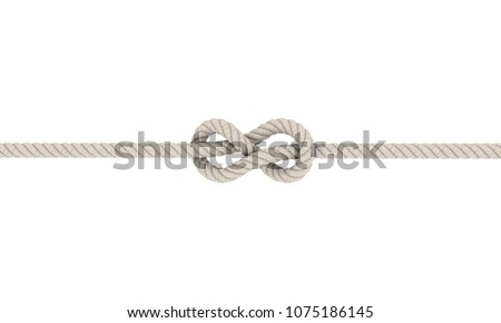 Rope flemish knot, Eight Knot.Isolated on white background.3D rendering illustration.