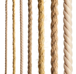 Rope isolated. Collection of different hemp ropes on white background.
