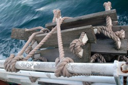Rope ladder as a part of the safety measures on a ship.