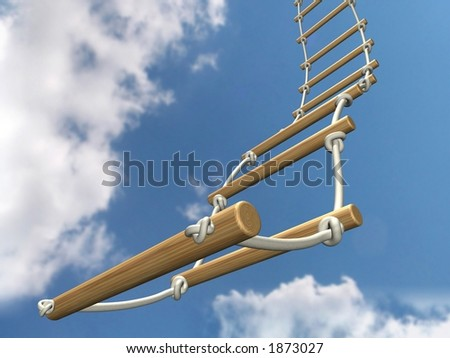 Rope ladder (3D render) - stock photo