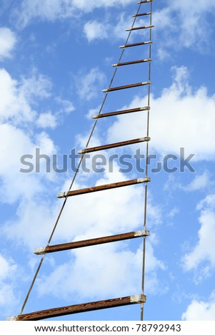 Rope ladder to the sky background