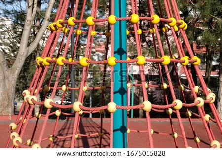 Rope ladder web in children's playground Stok fotoğraf ©