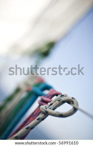 Rope on sailing boat in the sea