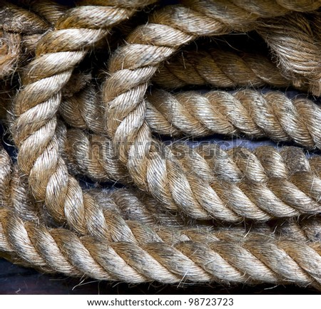 Rope on the deck of the ferry