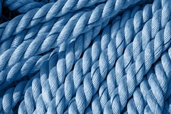 Rope texture close up in modern trendy blue color