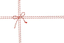 Rope Tied Bow Knot for White Envelope Package, Red Ribbon Cord of Postal Mail Pack, Seamless