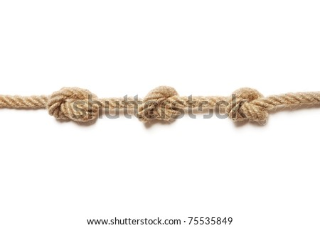 Rope with a three tied knots