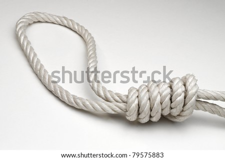 Rope with hangman's noose on white background