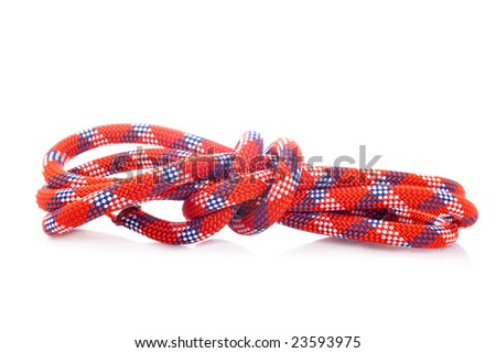 Rope with knot reflected on white background