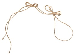 Rope wrap with bow isolated on white. Isolated twine made of natural materials.