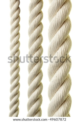 Ropes close-up isolated over white background