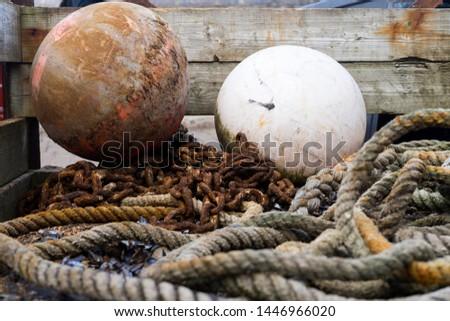 Ropes, fishing tackle, and buoys. #1446966020