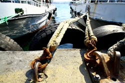 Ropes holding the boats in the port, Besiktas Istanbul, Turkey.
