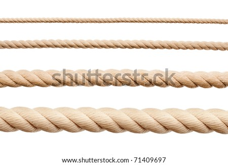 Ropes isolated on white - stock photo