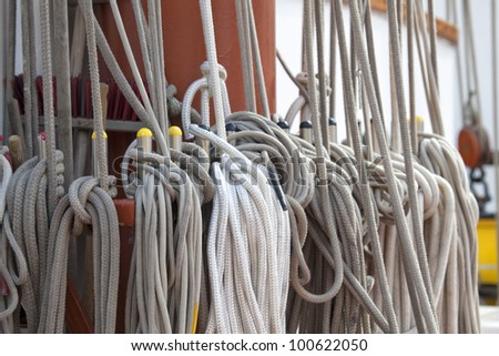 Ropes on a traditional sailing vessel - stock photo