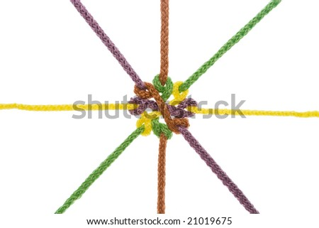 Ropes tied in knot illustrating concepts of complex relationship, protection, strength, stress, network