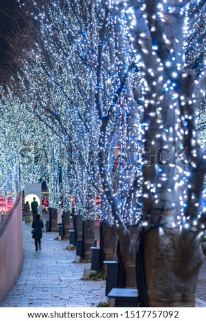 Roppongi Hills winter illumination festival ( Keyakizaka Galaxy Illuminations ), beautiful view, popular tourist attractions, travel destinations for holiday, famous events in Tokyo city, Japan #1517757092