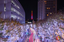 Roppongi Hills winter illumination festival (Keyakizaka Galaxy Illuminations), travel destinations Winter Illumination at Roppongi Hills in Christmas & New Year celebrate illumination with Tokyo Tower