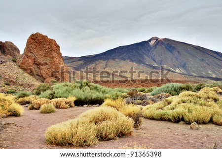 Roques De Garcia, Teide National Park, Tenerife, part of the weathered remnants of the old summit before subsequent eruptions and magma flow raised the summit of the volcano to its present height.