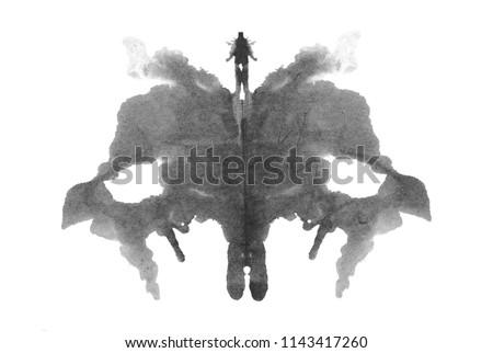 Rorschach photo, inkblot test isolated on white background