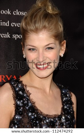 "Rosamund Pike at the Los Angeles premiere of ""Fracture"". Mann Village Theatre, Westwood, CA. 04-11-07"