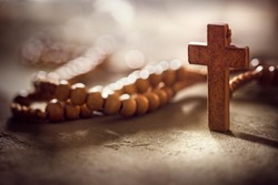 Rosary beads and crucifix cross with copy space