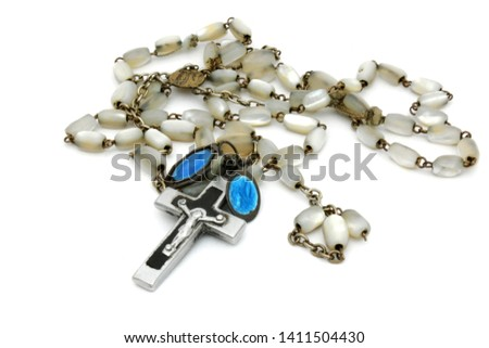 Rosary beads isolated on white background #1411504430
