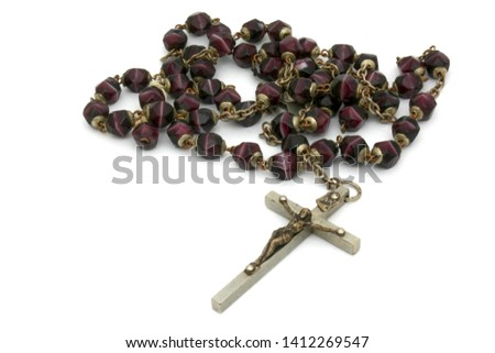 Rosary beads isolated on white background #1412269547