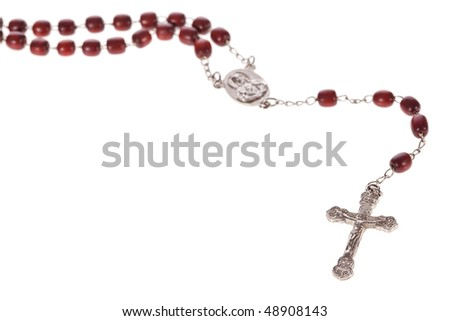Rosary beads isolated over a white background