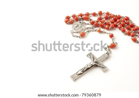 Rosary isolated over white background