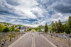 Rosary Square - View From Rosary Basilica, Sanctuary Of Our Lady Of Lourdes, Lourdes, Hautes-Pyrenees, Occitanie, France, Europe