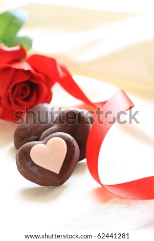 Rose and heart shape chocolate
