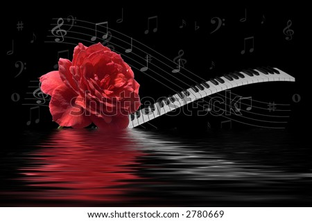 Rose and Keyboard combined with music notes and reflection