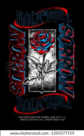 Rose and sorrow rock n roll print design