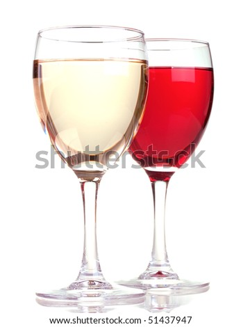 Rose and white wine in a wine glasses isolated on white background