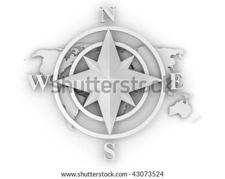 rose compass. 3d