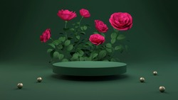Rose 3D rendering flower background pink color with geometric shape podium for product display, minimal concept, Premium illustration pastel floral elements, beauty, cosmetic.