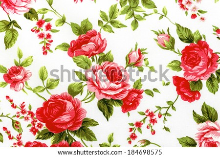 Rose Fabric background Fragment of colorful retro tapestry text