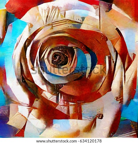 Rose. Floral abstraction in modern cubic style. Executed in oil on canvas with elements of pastel painting.