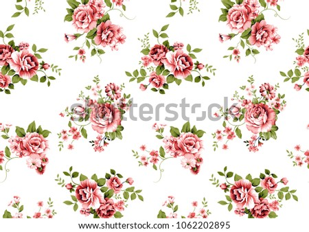 rose flower pattern with little ...