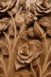 Rose Flower Thai style Teak wood carving Door in Chiangmai Thailand