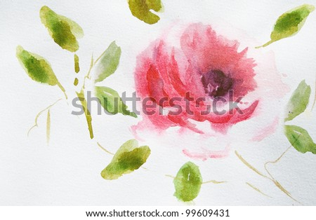 Rose flower with green leaves
