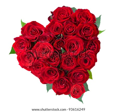 stock photo : Rose Flowers Heart Over White. Valentine. Love