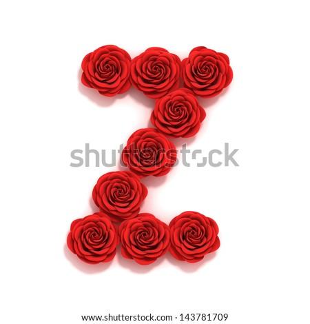 Z Alphabet Love Rose Font Letter z Stock Photo