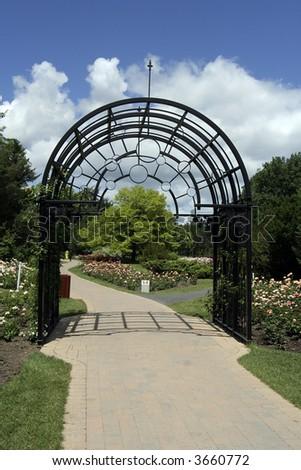 Rose garden entrance - stock photo