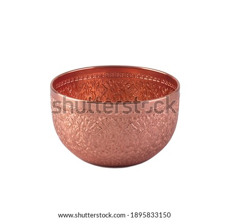 Rose gold color bowl in Thai style used in religious ceremonies isolated on white background Stock photo ©