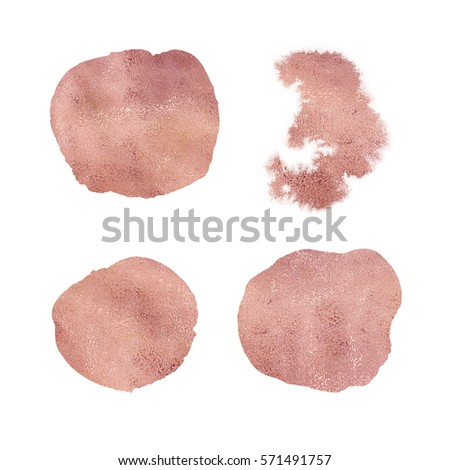 Rose gold copper bronze brass foil sparkle splash stains elements for design. Clipping path included. Fast isolation