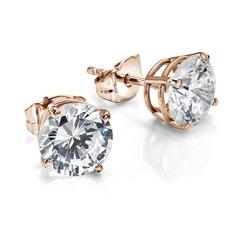 Rose Gold Diamond Solitaire Earrings