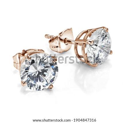 Rose Gold Diamond Solitaire Earrings Foto stock ©
